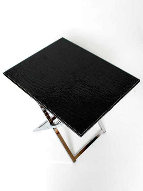 TABLETTTISCH BEISTELLTISCH KROKO LEDER COUCHTISCH TABLETT