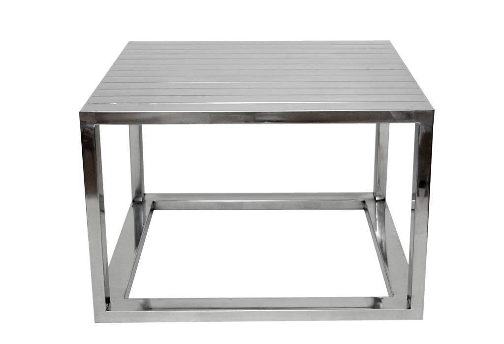 Beistelltisch aluminium poliert quadratisch for Beistelltisch echtholz