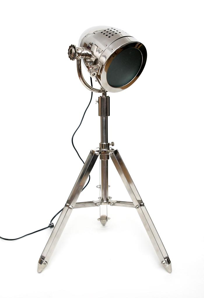 design stehlampe lampe leuchte stativ spot scheinwerfer tischlampe nickel silber ebay. Black Bedroom Furniture Sets. Home Design Ideas