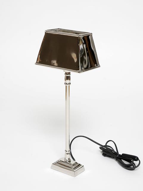 designer tischlampe tischleuchte lampe leuchte eckig nickel silber nieten deluxe ebay. Black Bedroom Furniture Sets. Home Design Ideas