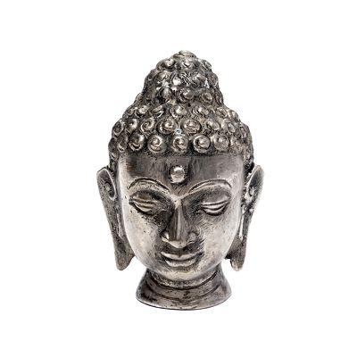 Thai Buddha Figur Kopf kupferfarben mit Grünspan-Effekt Skulptur Büste 13 cm